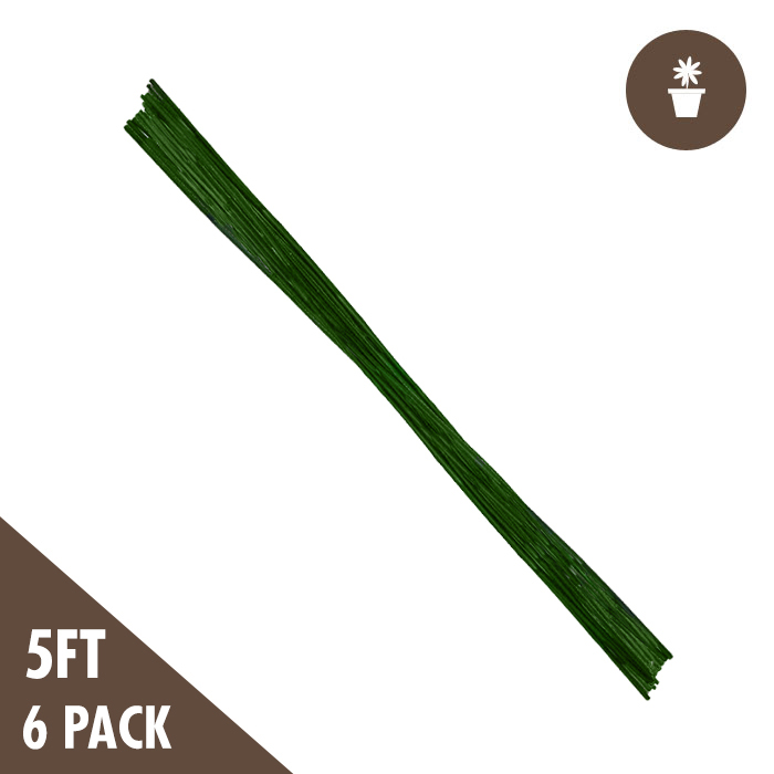 5′ Green Bamboo Stakes Heavy Duty 2x (6-pack)